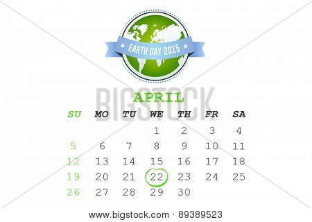 april calendar against earth day 2015