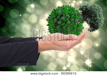 Businessman with arms out presenting something against light design shimmering on green