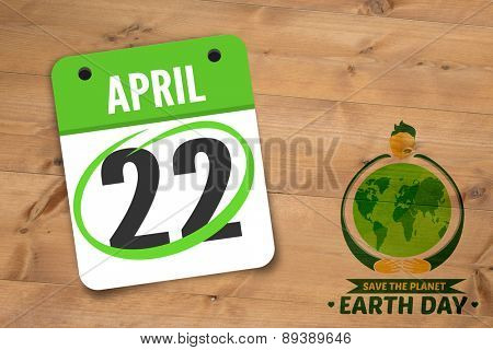 april 22nd against bleached wooden planks background