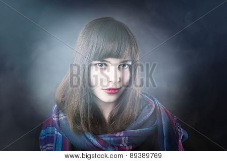 Portrait Of A Beautiful Woman With Scarf