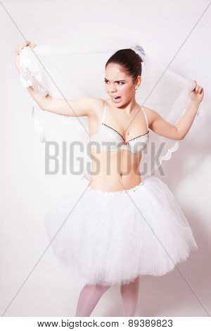Studio Portrait Of Beautiful Angry Bride