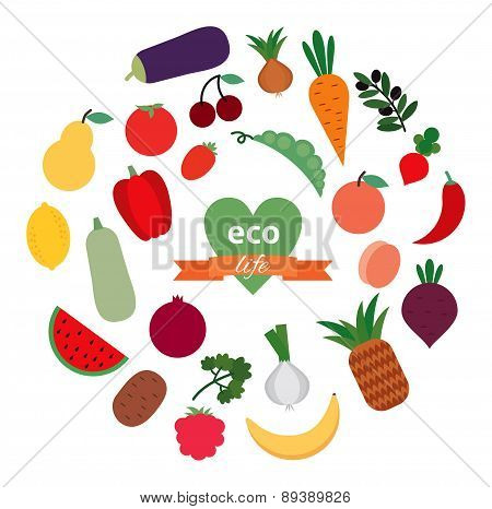 Vector card with fruit and vegetables. Organic food