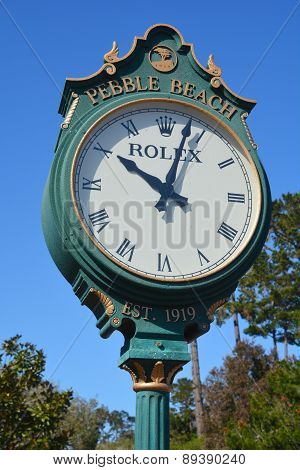 Rolex clock in the public golf course of Pebble Beach