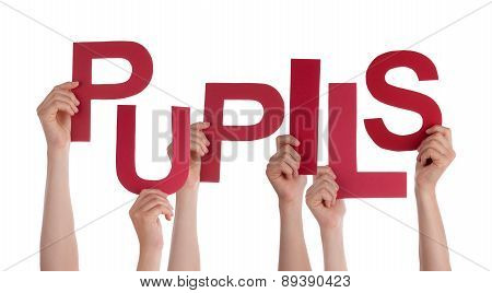 Many People Hands Holding Red Word Pupils