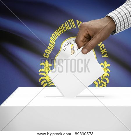 Voting Concept - Ballot Box With Us State Flag On Background - Kentucky