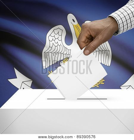 Voting Concept - Ballot Box With Us State Flag On Background - Louisiana