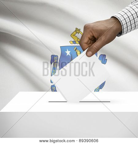 Voting Concept - Ballot Box With Us State Flag On Background - Massachusetts
