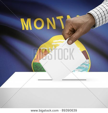 Voting Concept - Ballot Box With Us State Flag On Background - Montana