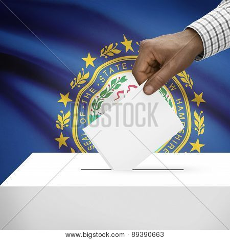 Voting Concept - Ballot Box With Us State Flag On Background - New Hampshire
