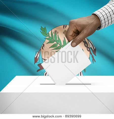 Voting Concept - Ballot Box With Us State Flag On Background - Oklahoma
