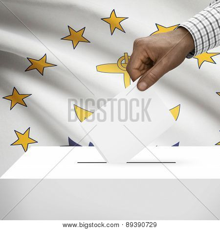 Voting Concept - Ballot Box With Us State Flag On Background - Rhode Island
