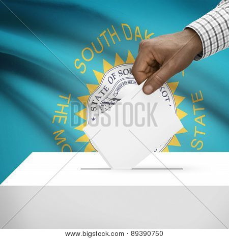 Voting Concept - Ballot Box With Us State Flag On Background - South Dakota