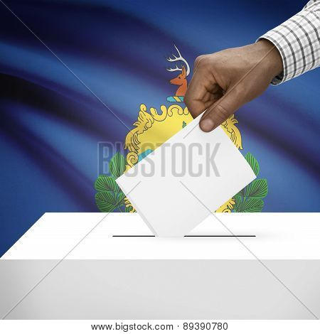 Voting Concept - Ballot Box With Us State Flag On Background - Vermont