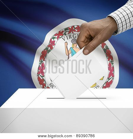 Voting Concept - Ballot Box With Us State Flag On Background - Virginia