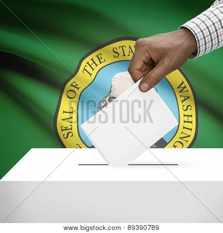 Voting Concept - Ballot Box With Us State Flag On Background - Washington