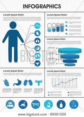 Stylish Healthcare infographics with human body, internal body organs and different graphs.