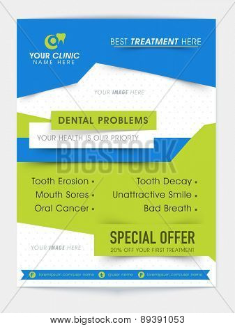 Stylish Dental flyer, template or banner presentation showing discount offer on first treatment.