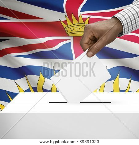 Voting Concept - Ballot Box With Canadian Province Flag On Background - British Columbia