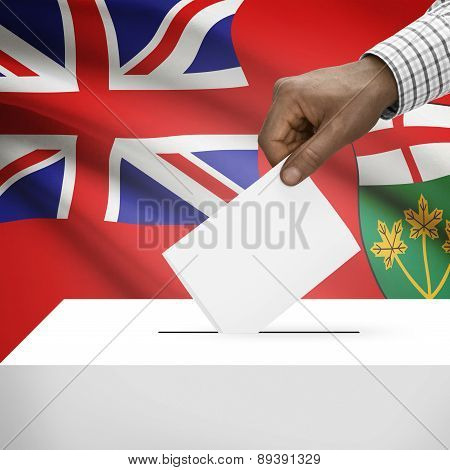 Voting Concept - Ballot Box With Canadian Province Flag On Background - Ontario