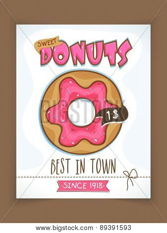 Best in Town, Donuts menu card design with price details for Sweet House.