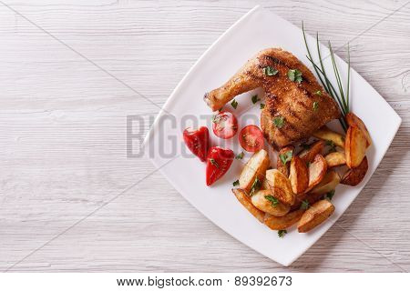 Chicken Leg And Chips On A Plate. Top View Horizontal