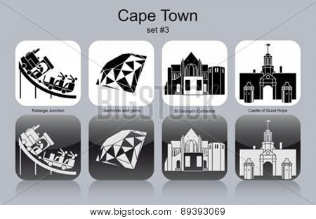 Landmarks of Cape Town. Set of monochrome icons. Editable vector illustration.