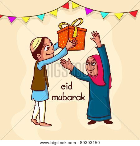 Islamic festival, Eid Mubarak celebration with illustration of a Muslim couple enjoying with gift on colorful bunting decorated background.