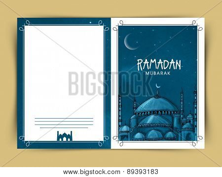 Islamic Mosque decorated beautiful greeting card for holy month of Muslim community Ramadan Kareem celebration.