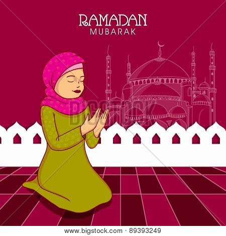 Young Muslim lady in hijab praying (reading Namaz, Islamic Prayer) on Mosque decorated background for holy month Ramadan Kareem celebration.