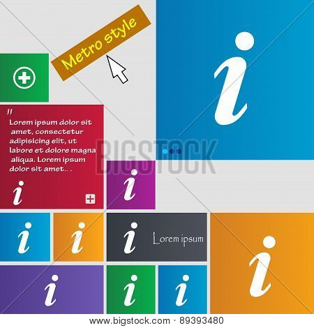 Information, Info Icon Sign. Metro Style Buttons. Modern Interface Website Buttons With Cursor Point