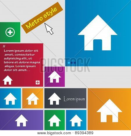 Home, Main Page Icon Sign. Metro Style Buttons. Modern Interface Website Buttons With Cursor Pointer