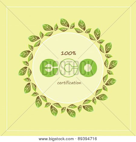 Green eco labels and badges. Vector illustration.