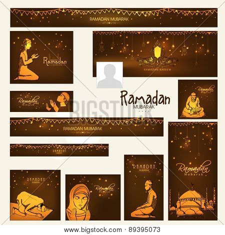 Shiny social media ads header or banner set with various golden Islamic elements for holy month of Muslim community, Ramadan Kareem celebration.