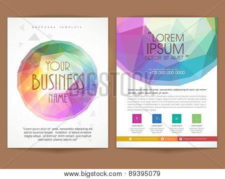 Colorful two pages professional brochure, template or flyer presentation for your business or corporate sector.