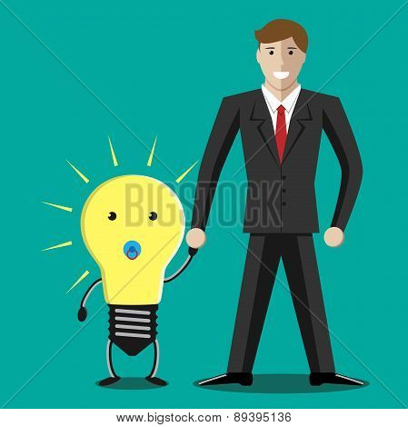 Businessman With Lightbulb Baby