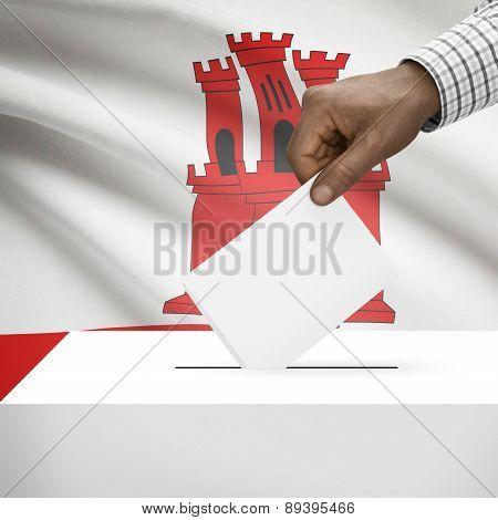 Ballot Box With National Flag On Background - Gibraltar