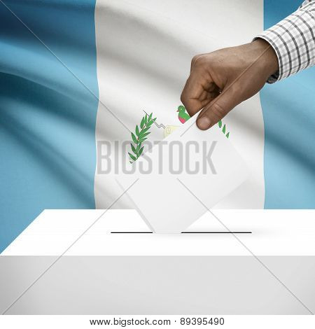 Ballot Box With National Flag On Background - Guatemala