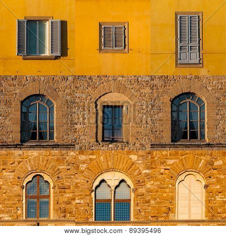 Set Of Windows Of Old Buildings In Florence