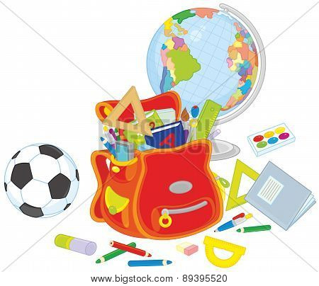 Schoolbag, globe and ball