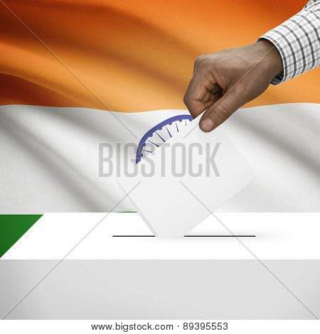 Ballot Box With National Flag On Background - India