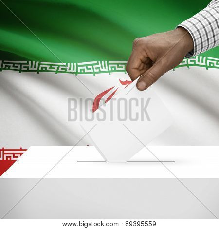 Ballot Box With National Flag On Background - Iran
