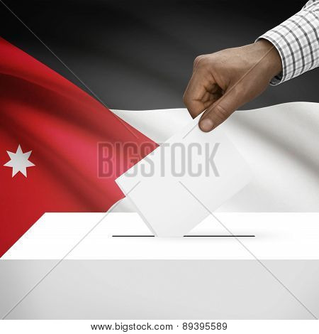 Ballot Box With National Flag On Background - Jordan