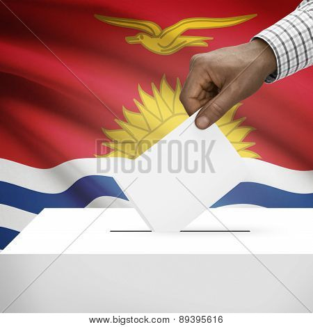 Ballot Box With National Flag On Background - Kiribati