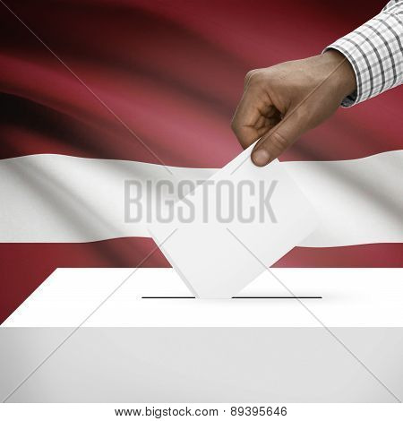 Ballot Box With National Flag On Background - Latvia