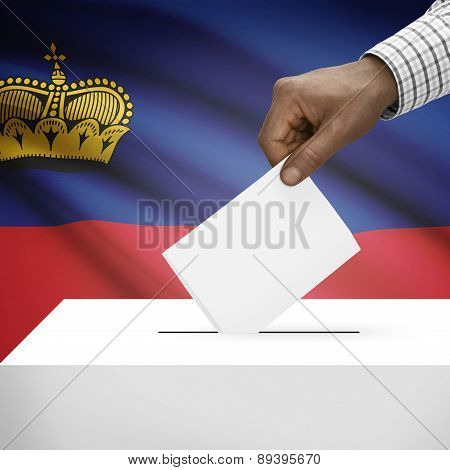 Ballot Box With National Flag On Background - Liechtenstein