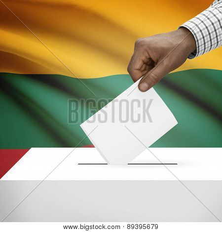 Ballot Box With National Flag On Background - Lithuania
