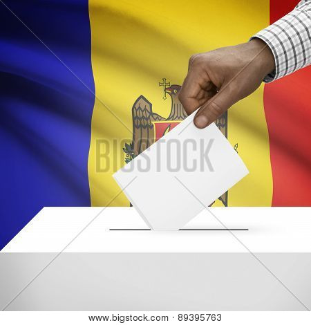 Ballot Box With National Flag On Background - Moldova