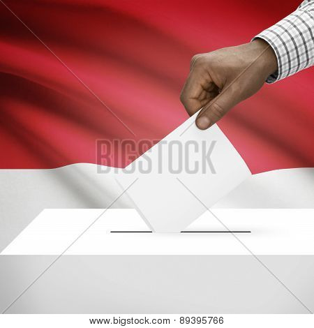 Ballot Box With National Flag On Background - Monaco