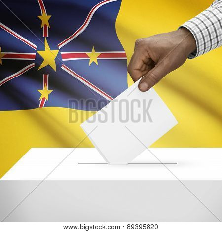 Ballot Box With National Flag On Background - Niue