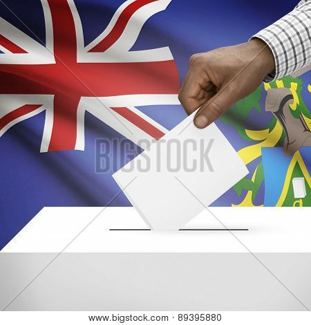 Ballot Box With National Flag On Background - Pitcairn Group Of Islands